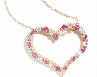 14K Yellow Gold Chain Necklace Heart shaped Ruby and Diamond Pendant