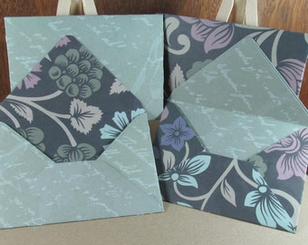 4 mini A7 handmade envelopes in turquoise with grey florals and slate text, coloured inside