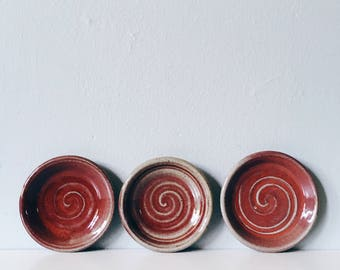 Little dish in ruby-red and gray: handmade ceramic ring dish - jewelry holder - spoon rest - catch all dish - FREE SHIPPING in U.S.