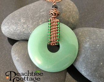 Wire Wrapped Pendant - Aventurine Pendant - Gemstone Donut Pendant - Ready to Ship