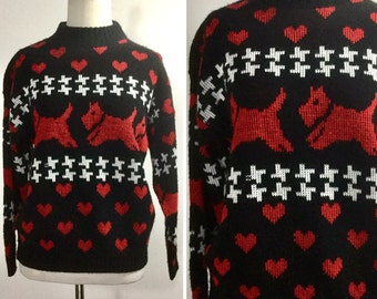Scottie Dog Sweater - Black and Red Hearts and Dogs, White Lines - Cute Animal Pet Novelty Sweater - Medium Sweater - Vintage 80s Sweater