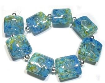 Handmade Glass Beads, Lampwork Beads,Sea to Sky Nuggets