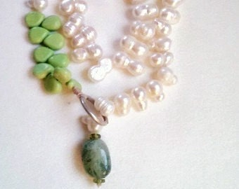 Pearl Turquoise Aquamarine Statement Necklace Lariat Style One Of A Kind