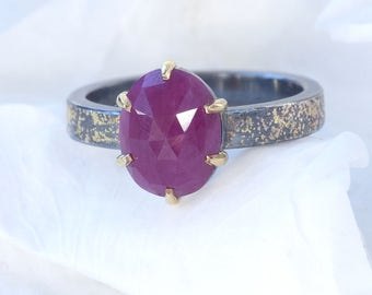 Stardust Ruby Ring | Sterling Silver and 18ct Gold | Handmade in the UK