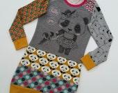 Size 7 upcycled girls panda sweaterdress, girls clothing, children's clothing,kidsclothes, kidswear, girls, puppy, upcycling, cute, dress,