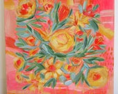 original painting My Vintage Bouquet 12x12 painting on wood