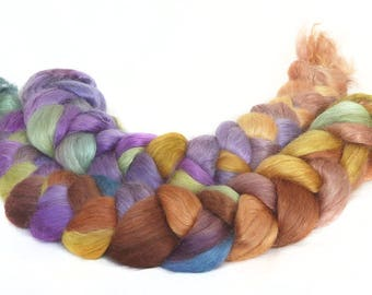 WENSLEYDALE SILK roving top handdyed spinning fibre 3.6 oz