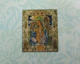 Dollhouse Miniature Madonna & Child Tile Mural
