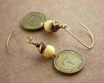 Boston Subway T Token Earrings - Yellow Speckle