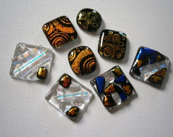 Dichroic Fused Glass Cabochons, 8 Dichroic Cabochons, Dichroic Cabs, Willow Glass