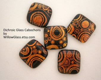 Dichroic Fused Glass Cabochons,  5 On The Radio Dichroic Glass Cabs, Willow Glass