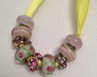 Lot of 9 Pink Glass and Silver Beads for Pandora and Chamilia Bracelets