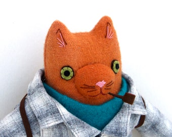 Orange Kitty boy wool doll plush hiker pipe