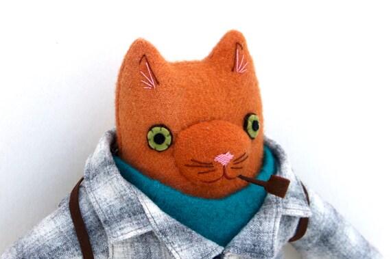 Orange Kitty boy wool doll plush hiker pipe