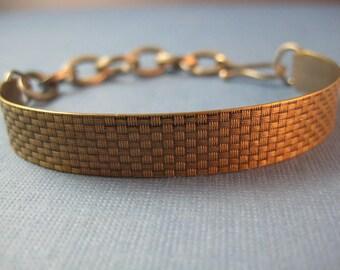 Viking bracelet  Brass & Sterling wearable two ways weave /woven pattern