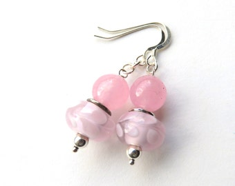 Pink and Silver Dangle Earrings, Breast Cancer Awareness, Pink Lampwork Glass, Sterling Silver and Rose Quartz, Survivor Gift for Her