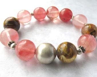Cherry Quartz Beaded Bracelet, Gemstone Stretch Bracelet with Sterling Silver,Stackable Cherry Quartz Gemstone Jewelry,Bold Fashion Bracelet