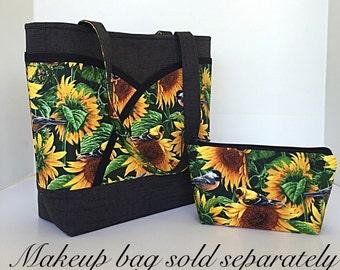 Sunflower handbag, tote bag, handmade handbag, Womens tote bag, handbags and purses, gifts for her