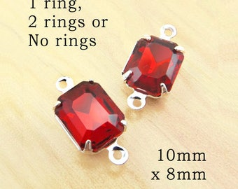 Red Glass Beads -  10mm x 8mm Octagons in Silver or Brass Settings - Glass Rhinestone Gems or Charms - One Pair