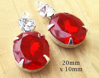 Ruby Red Vintage Glass Beads - 20mm x 10mm - Oval Glass Charms - Silver or Brass Prong Settings - Color Choice - Rhinestones - One Pair