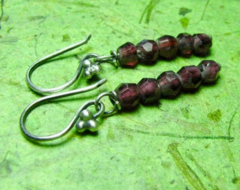 Cabernet - Garnet and Sterling Silver Earrings