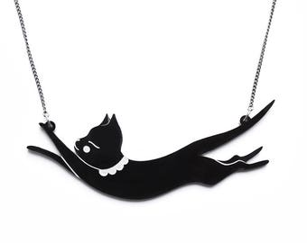 Jumping Cat Necklace-Black hand painted acrylic laser cut illustration - cat jewellery jewelry