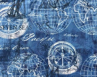 Weighted Blanket - Adult or Child - Blue Globe Map Ocean Ships - Choose your weight (up to 15 lbs) and minky color - custom