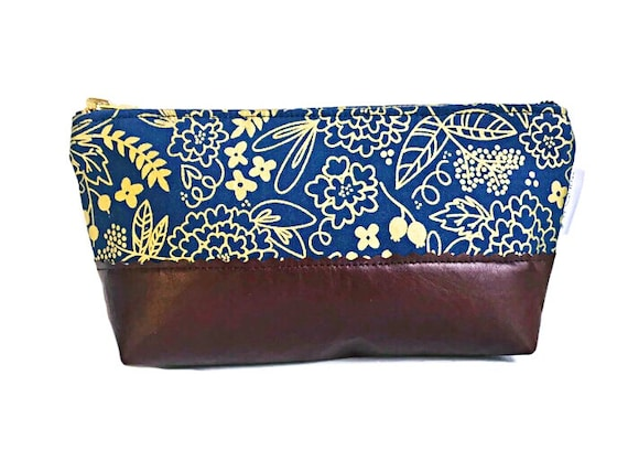 Floral Blue Metallic Gold Makeup Bag, Cosmetic Bag, Leather Pouch, Toiletry Bag, Small Leather Clutch