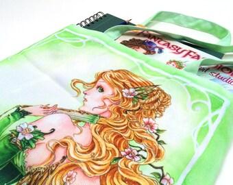Fairy Art Tote bag, Fantasy art, Steampunk, Green, book bag, art, meredith dillman