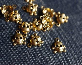 Tiny 7mm Crossbone Charms - 24pcs - Raw Brass - Small Skull Charms - Crossbone Pendant - Gothic Stamping - Cute Skull Charm