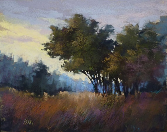 Dramatic Contemporary  Landscape Original Pastel Painting 16x20