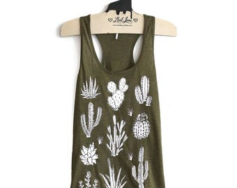Large -Olive Racer Back Tank with Cactus Screen print