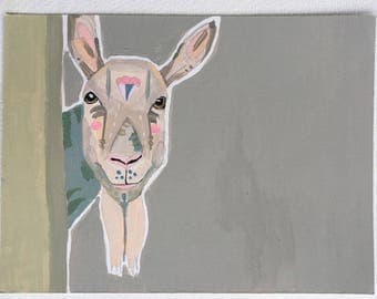 Goat painting on paper, original goat painting in acrylic
