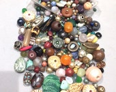 8 lbs Assorted Mixed Beads:  3 bag mix of glass,stone,wood beads