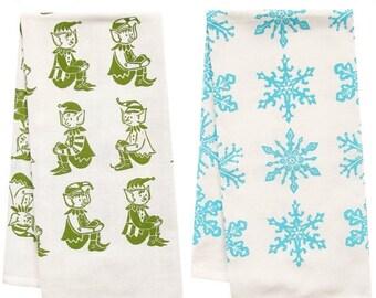 NEW ROOF SALE Sale snowflake and elf organic tea towel set