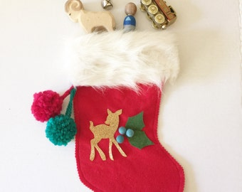 Personalized  Felt Christmas Stocking - Winter Berry