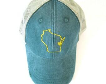 Distressed Snapback Trucker Hat - Wisconsin hat Yellow on Green Heart Green Bay