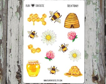 Bullet Journal Stickers  - Bees & Honey Planner Stickers - Watercolor - deco - bujo