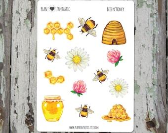 Bullet Journal Stickers  - Bees & Honey Planner Stickers - Watercolor - deco - bujo
