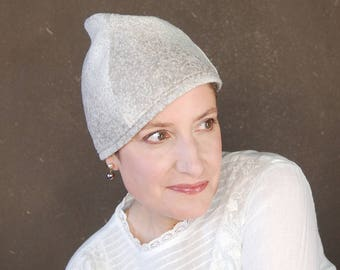 Ladies spring cap beige and white wool, sewn turban hat, brimless cloche, modern madcap, handmade millinery, gift for her  : Cognoscenti