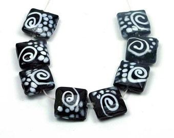 Lampwork Glass Black White Spiral Square Beads 15mm 4pcs