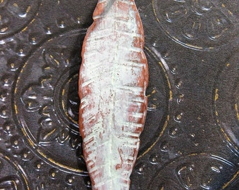 Hammered Copper Feather Pendant in Chalk White - 2.5 inches