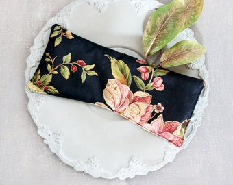 Black Floral Lavender Eye Pillow, Relaxation Spa Gift, Aromatherapy