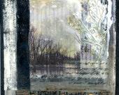 Encaustic painting, encaustic art, tree painting, small painting, mixed media art, wall hanging, mixed media art