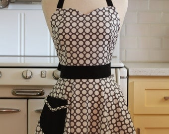 The BELLA Vintage Inspired Grey and White Dot Full Apron