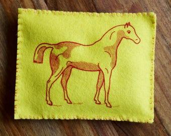Felt Sewing Kit - HORSE Bean Bag - Original Screen Print Wool Beginner DIY