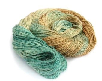 Light worsted DK yarn, hand dyed double knitting baby alpaca linen silk blend crochet yarn skein, Perran Yarns, Sandy Toes, aqua blue brown