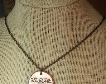 Stamped Copper Rescue Necklace