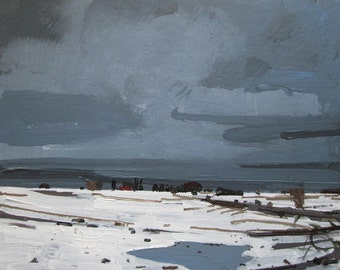 January Thaw, Original Winter Landscape Collage Painting on Cradled Panel, Ready to Hang, Stooshinoff