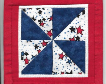 Free US Shipping! Miniature Americana Pinwheel #6381 Dollhouse Quilt Wallhanging or Rug Great for OOAK Sculpt Doll